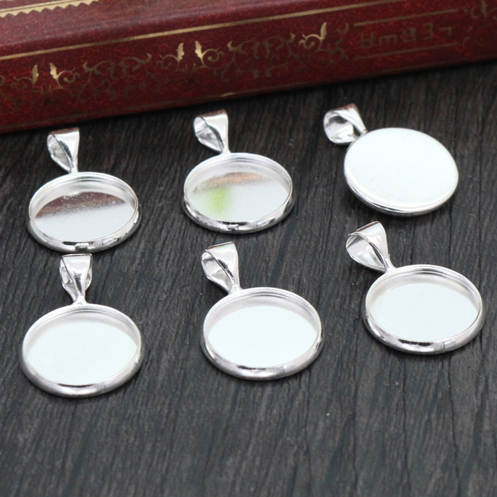 20pcs 12mm Inner Size Silver Plated Brass Material Simple Style Cabochon Base Cameo Setting Charms Pendant Tray (A2-30)