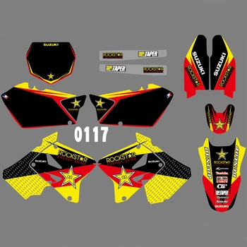 For SUZUKI RM125 RM250 2001-2012 Graphics Decals Stickers Custom Number Name 3M Full  Motorcycle Backgrounds Accessories