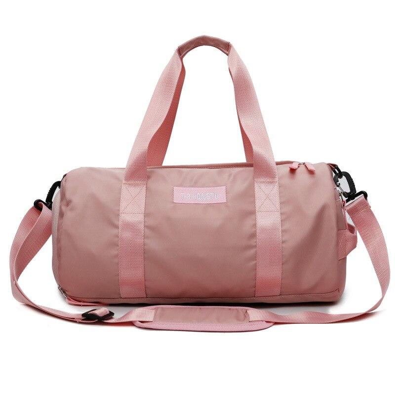 Sports Gym Bag Women's Yoga Bag Shoes Bit Shoulder Bag Training Package Solid Color Cylinder Short Trip Hand Travel Bag