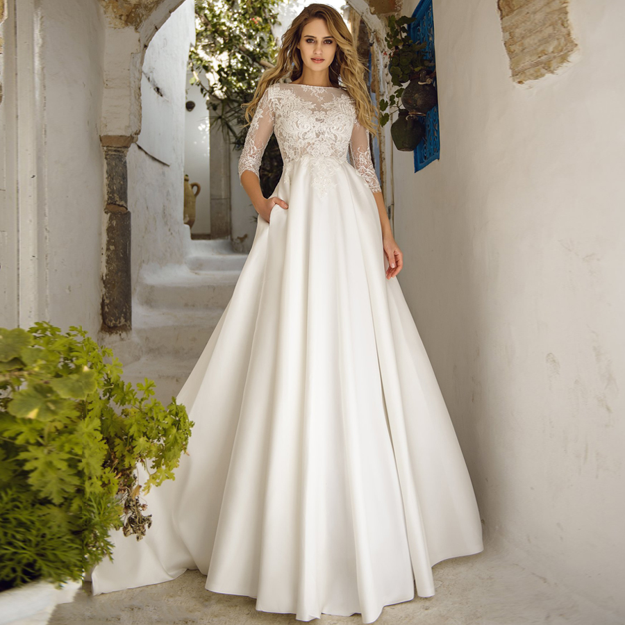 Elegant Wedding Dresses Robe De Mariee Boat Neck Three Quarter Sleeves Lace Applique A-line Wedding Gown For Bride