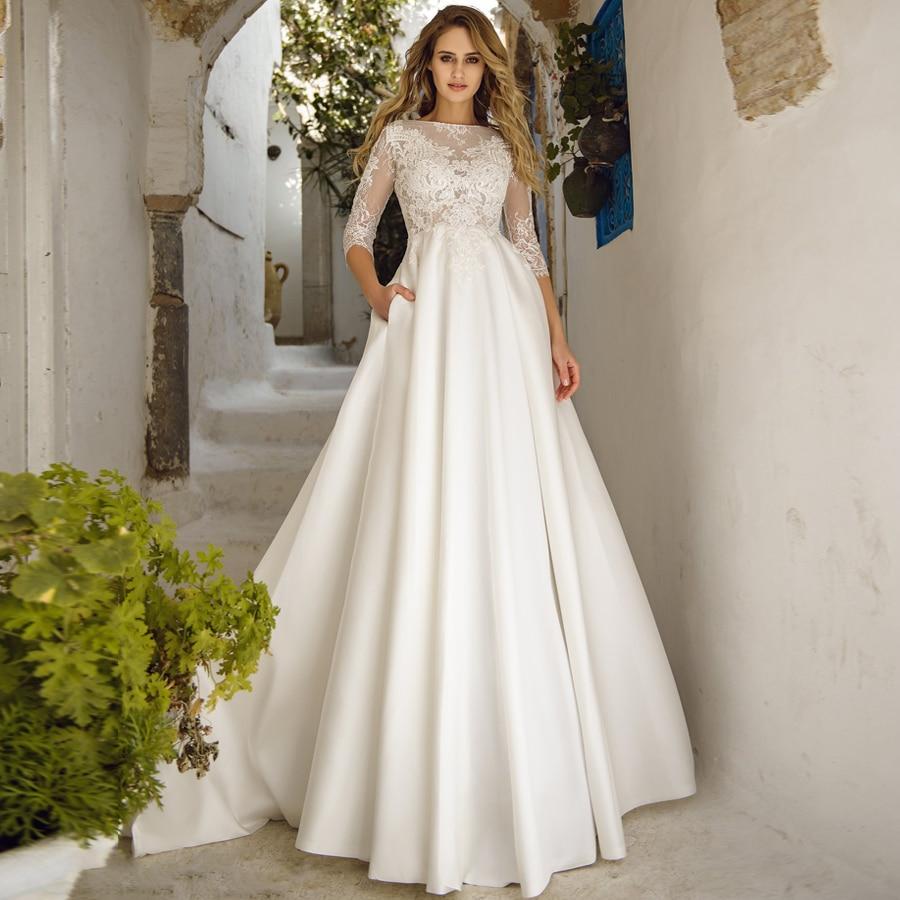 Elegant Wedding Dresses Robe De Mariee Boat Neck Three Quarter Sleeves Lace Applique A-line Wedding Gown For Bride