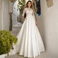 Vestidos De novia elegantes bata De Mariee cuello barco mangas tres cuartos Apliques De encaje A-line vestido De novia