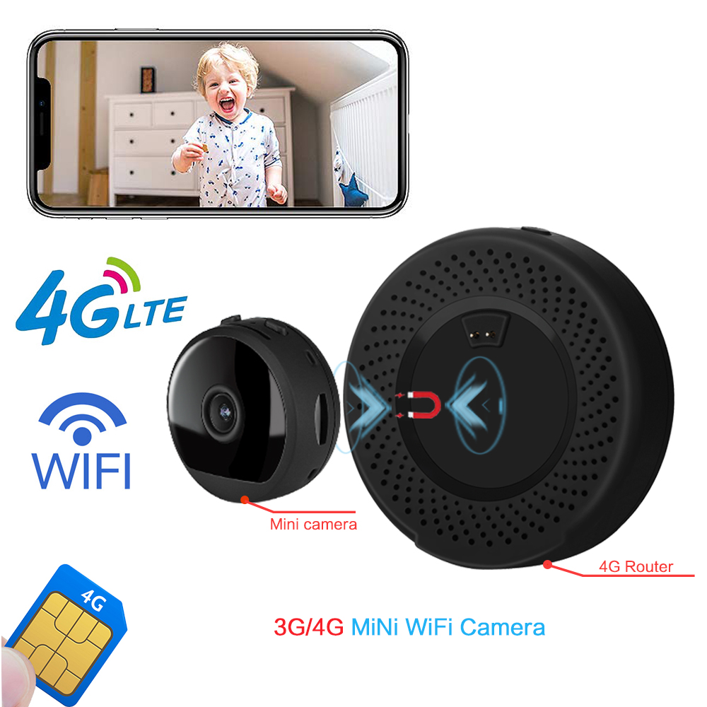 3G 4G Lte Wireless Portable Mini Camera 1080P Wireless GSM SIM Card WIFI CCTV P2P IR Night Vision Surveillance Monitor Security