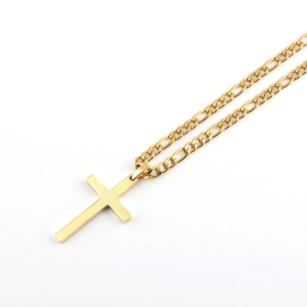 Hip Hop Men and Women Cross Pendant Necklaces, European and American Fashion Hot-selling Stainless Steel Pendant Necklace
