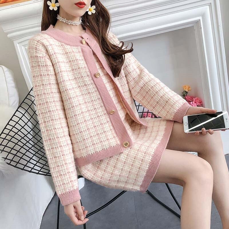 Women Plaid Suits Women 2019 Autumn Long Sleeve Sweater Coat + Slim Vest Dress Fashion Casual 2 Sets Chic Cute Knit Suit