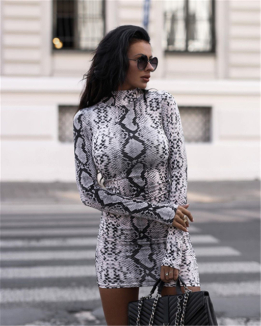 Autumn Fashion Casual Women Long Sleeve Turtleneck Leopard Print Cocktail Party Clubwear Mini Pencil Dress Bodycon