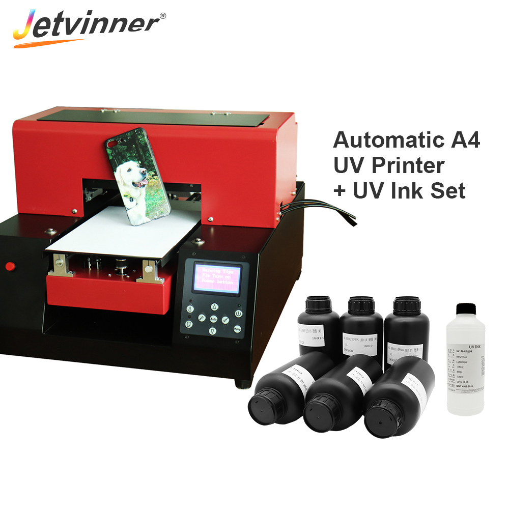 Jetvinner Full Automatic A4 Small Size UV Printer with UV Ink Set Flatbed Printers for Phone Case Wood Metal Acrylic Glass PVC-in Printers from Computer & Office    1