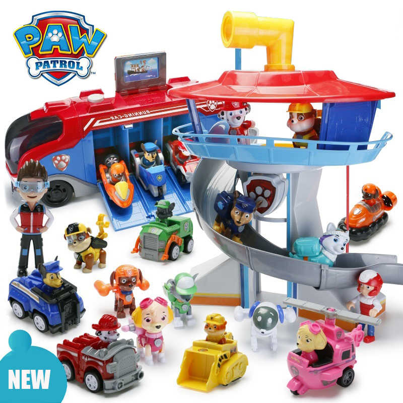 Paw Paterol Toys Set Action Figures Cute Puppy With Inertial Car Patrol Paw Cruiser Bus Rescue Car Lookout Tower Toys For Child