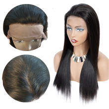 Straight Glueless Lace Frontal Human Hair Wigs With Baby Hair For Black Women Pre Plucked Silk Base Lace Wig Remy(China)