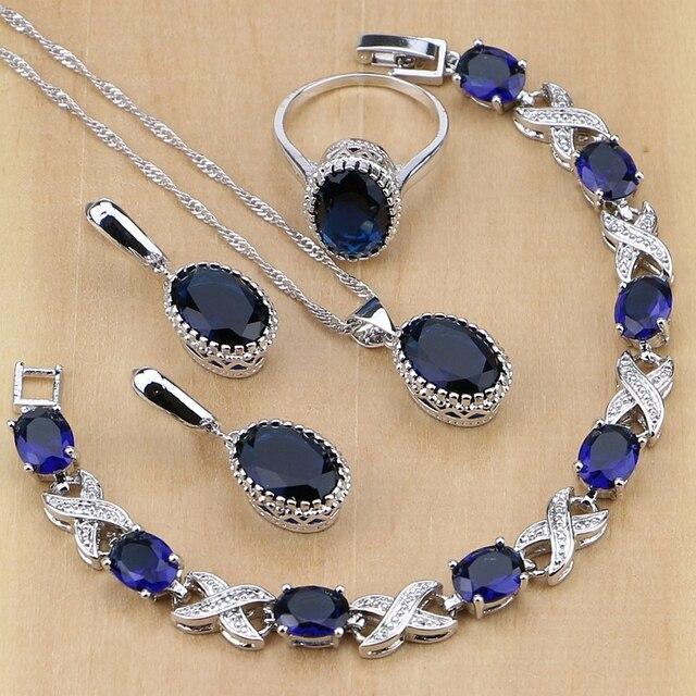 925 Sterling Silver Jewelry Blue Cubic Zirconia Jewelry Sets For Women Earrings/Pendant/Necklace/Rings/Bracelet