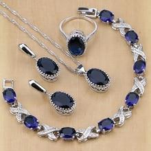 925 فضة مجوهرات الأزرق زركون مجموعات مجوهرات للنساء أقراط/قلادة/قلادة/خواتم/سوار
