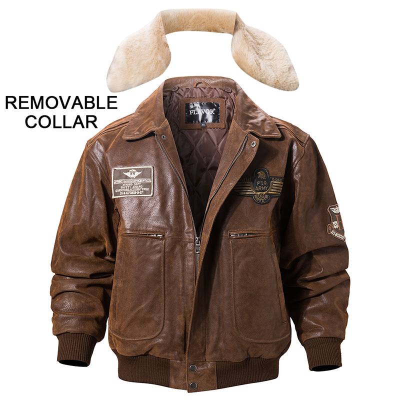 FLAVOR New Men s Real Leather Bomber Jacket with Removable Fur Collar Genuine Leather Pigskin Jackets FLAVOR New Men's Real Leather Bomber Jacket with Removable Fur Collar Genuine Leather Pigskin Jackets Winter Warm Coat Men