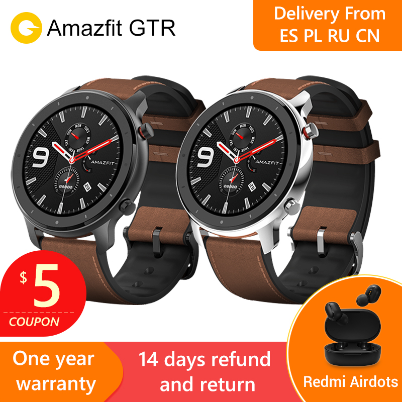 2019 Amazfit GTR 47mm Smart Watch with GPS 5ATM Waterproof 24 Days Battery Life 12 sports mode Bluetooth AMOLED Screen -in Smart Watches from Consumer Electronics