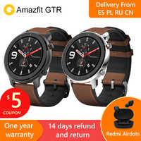 Reloj inteligente Amazfit GTR 47mm 2019 con GPS 5ATM resistente al agua 24 días de duración de la batería 12 modos deportivos pantalla Bluetooth AMOLED