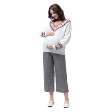 Autumn Leisure Maternity nine Pants Adjustable belt Waist Belly Casual  For Pregnant Women Loose