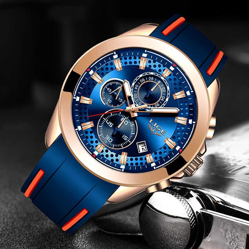 LIGE yeni erkek askeri spor saatler Mens üst marka lüks iş saati su geçirmez kuvars kol saati erkekler İzle Chronograph + kutu