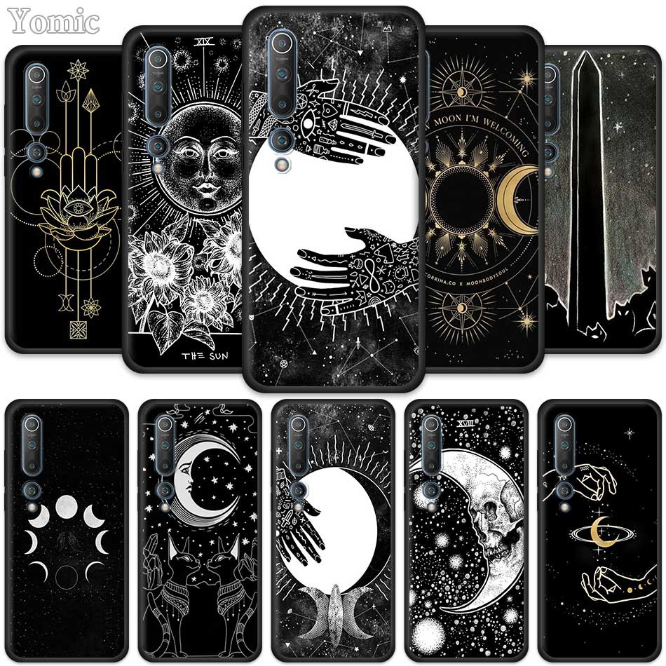 Silicone Phone Case For Xiaomi Mi Note 10 9 SE 9T CC9 Pro 5G A3 A2 8 Lite Poco X2 Black Cover Witches Moon Tarot Mystery Totem