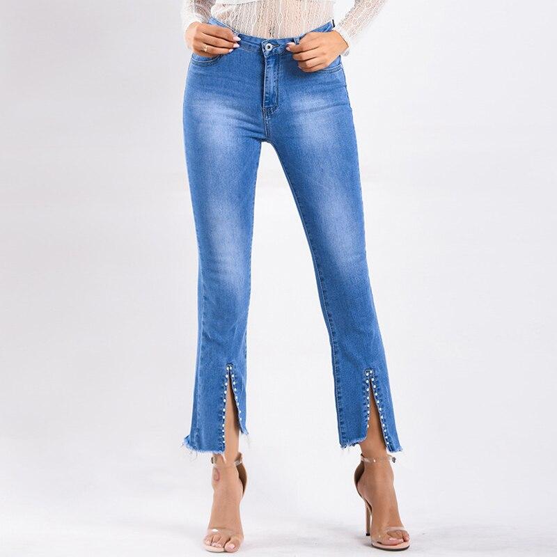 Rivet Flare Jeans Women Bootcut Jeans Fashion Spring Summer Jeans Front Slit Pants Ladies Slim Crooped Jeans Pantalon Jean Femme