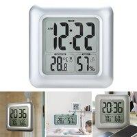Large Screen Thermometer Bathroom Shower Waterproof Hygrometer Clock Square LCD Display