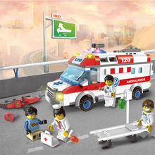 Emergency ambulance assembling building blocks toys manual childrens educational gifts