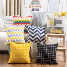 Nordics Geometric Cotton linen Throw Pillowcase Wave Plaid Cushion Cover Cojines Decorativos Para Sofa Home Decorative pillows beach wave print linen sofa pillowcase