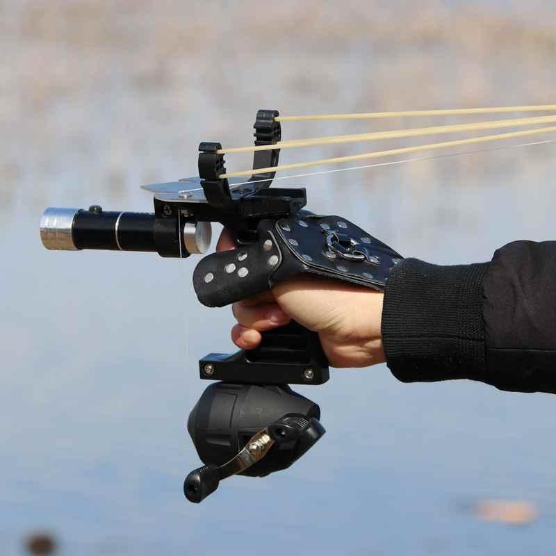 釣りセットスリングハンティングカタパルトスーツ屋外撮影釣りリール + ダーツ + 左ハンドガード + ゴムチューブ懐中電灯