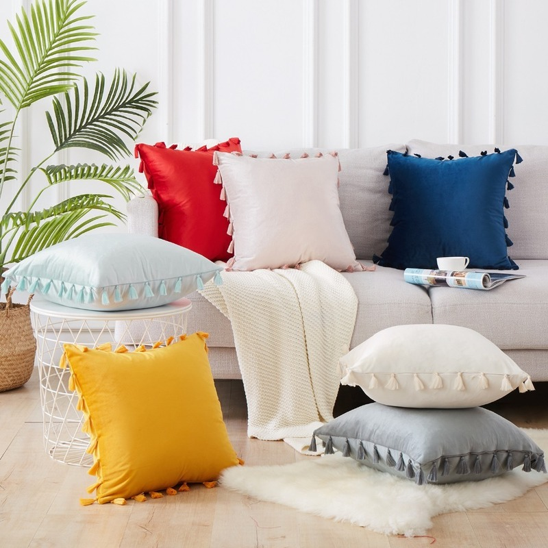 New Design Tassel Ball Cushion Home Soft Assembly Pillow Nordic Photography Props Home Decoration