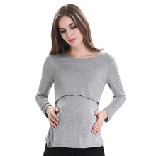 Womens Long Sleeve Tee Pure Colour Tops Breastfeeding Nusring Maternity Clothes pregnant T-shirt maternity clothes for