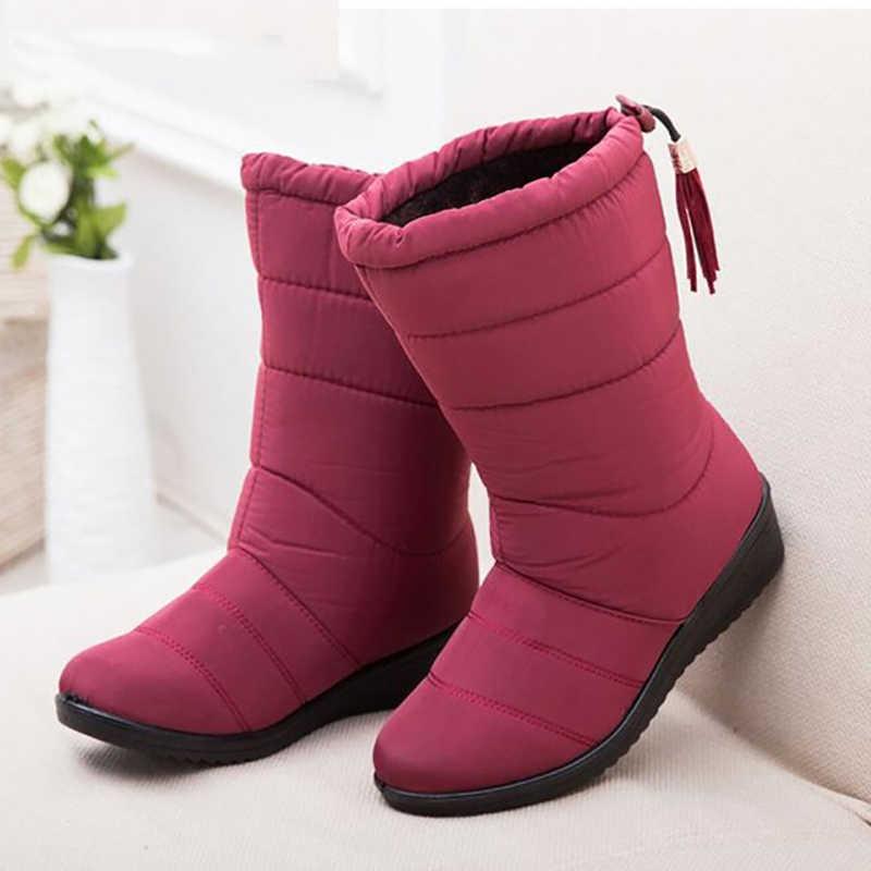 Yeni orta buzağı çizmeler peluş sıcak kar botları kadın kış ayakkabı kadın botları su geçirmez kadın kışlık botlar artı boyutu 43 Botas Mujer