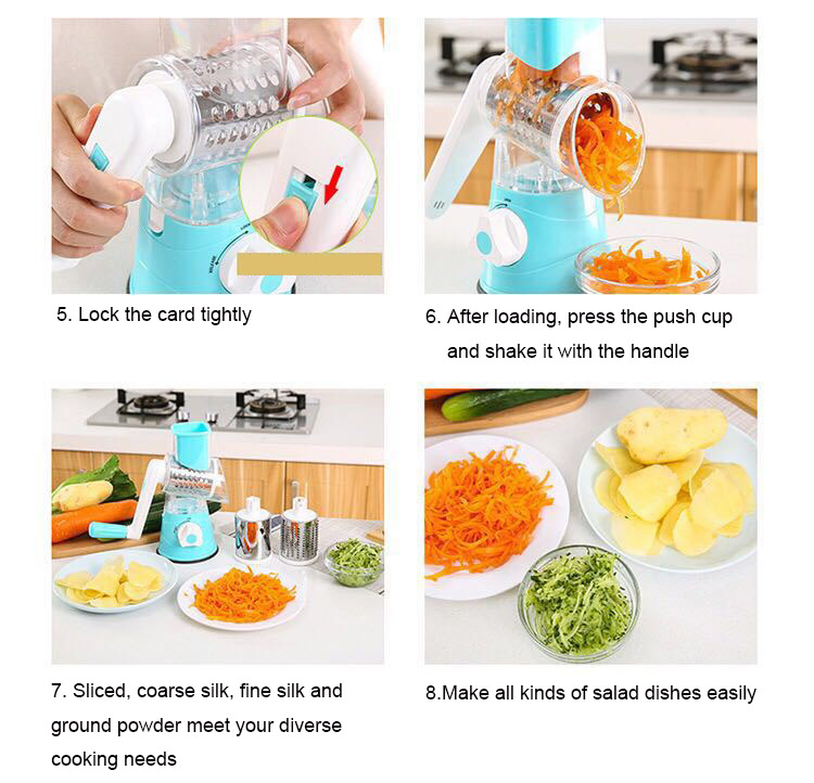 Image 3 - Vegetable Cutter Round Mandoline Slicer Potato Carrot Grater Slicer with 3 Stainless Steel Chopper Blades Kitchen ToolsGraters   -
