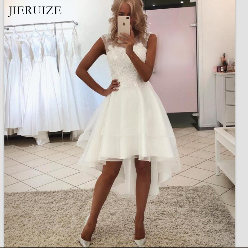 JIERUIZE White Organza Tea Length Beach Wedding Dresses Front Short Long Back Bride Dresses Wedding Gowns