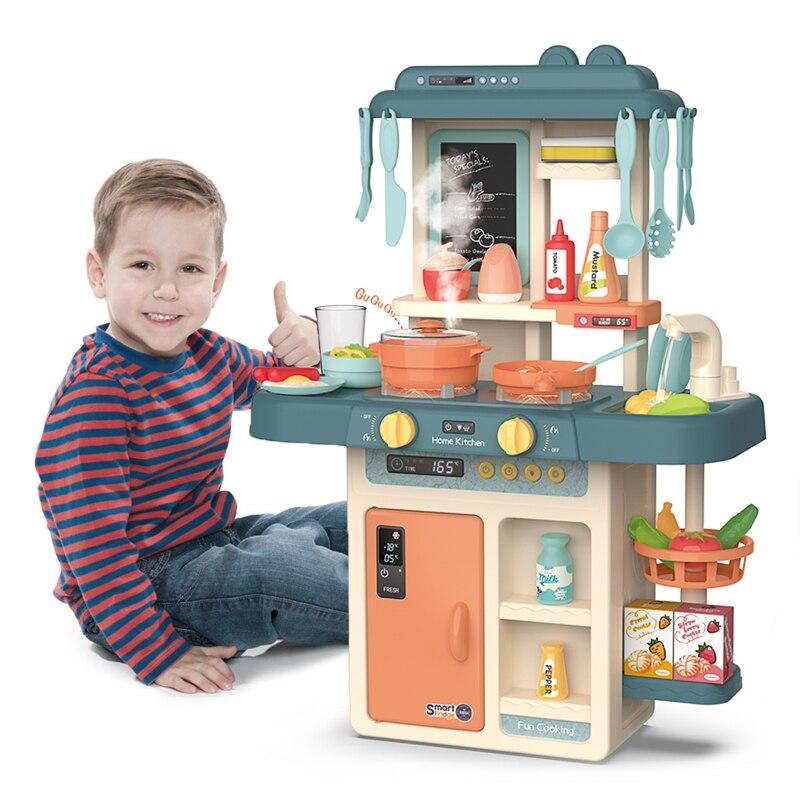 Enfants semblant jouer Simulation cuisine ensemble Chef cuisine jeu Miniature nourriture Mini batterie de cuisine Spray lumière filles jouet enfants cadeau
