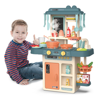 Kids Pretend Play Simulation Kitchen Set Chef Cooking Game Miniature Food Mini Cookware Spray Light Girls Toy Children Gift