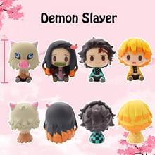 Random anime demônio slayer boneca sentado versão tanjiro nidouko porta da cozinha demônio assassino kawaii figura crianças brinquedo presente pvc bonecas