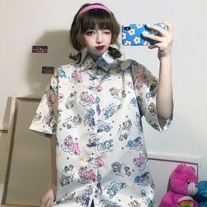 Harajuku bonito coelho impressão camisa feminina 2020 verão blusa das mulheres dos desenhos animados doodle chiffon camisa solta lapela camisa de manga curta