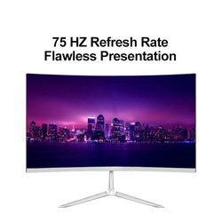 23.8 بوصة 75 هرتز منحني شاشة عرض ألعاب ضيق الحافة تصميم 7.5 مللي متر سليم 1920*1080 FHD IPS بلو راي flpeter لا الرش