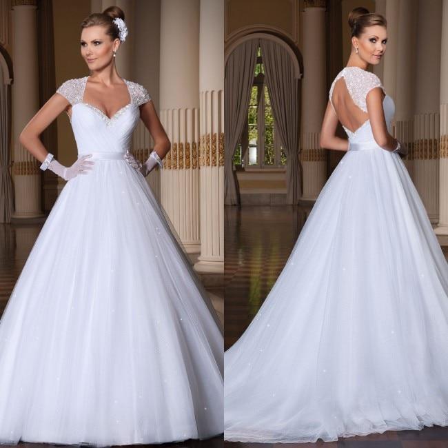 Vestido De Noiva 2016 Ball Gown Wedding Dress Open Back Bead Cap Sleeve Robe De Mariage 2015 Vestidos De Noiva Casamento
