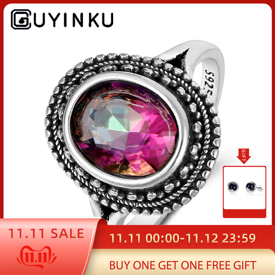 GUYINKU Oval Created Mystic Topaz Rings Rainbow Colorful Gemstone 925 Sterling Jewelry For Women Engagement Rings Gift