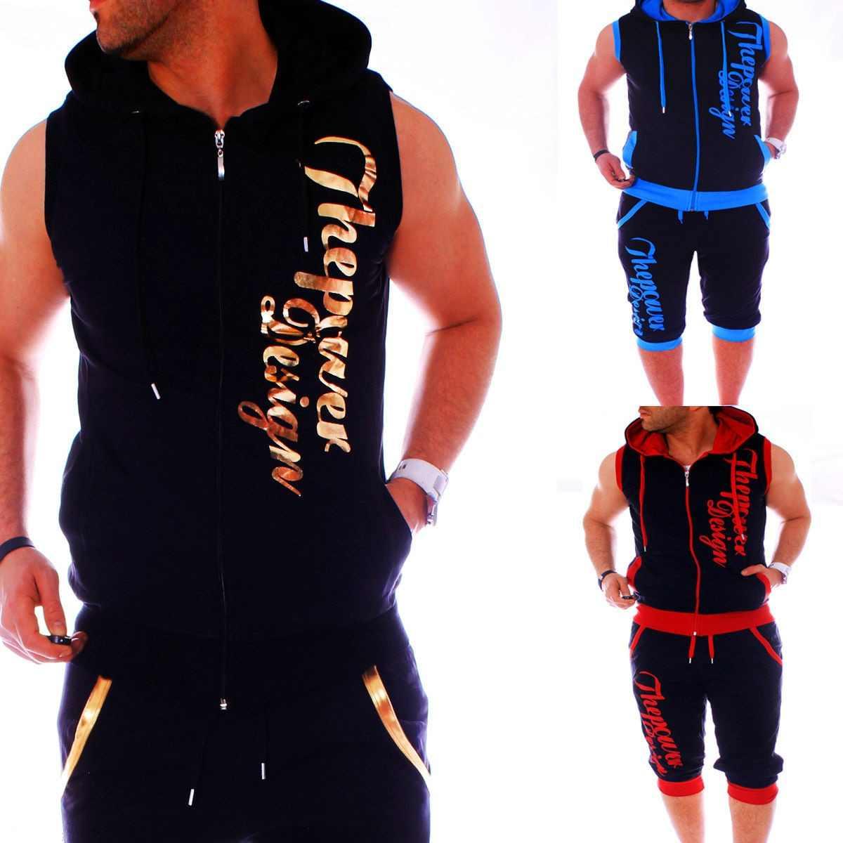 ZOGAA hombre Sweatsuits Casual Hombre Jogger Set 2 piezas sin mangas Hoodies con pantalones cortos conjunto letra impresa chándal para Hombre Ropa