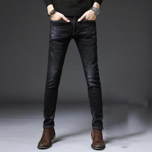 Winter New Style Brushed And Thick Jeans Men's Korean-style Slim Fit Elasticity Warm