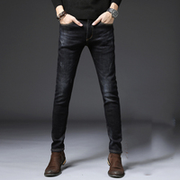 Winter New Style Brushed And Thick Jeans Men's Korean style Slim Fit Elasticity Warm Skinny Pants Casual Versatile Men'S Wear