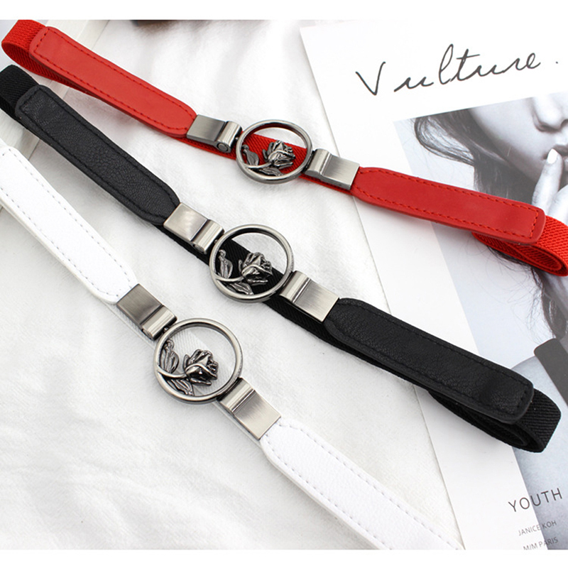 2020 Belt Accessories With Dress Girdle Flower Hooks Buckle Fine Elastic Stretch Korean Style Fashion Slim Belt
