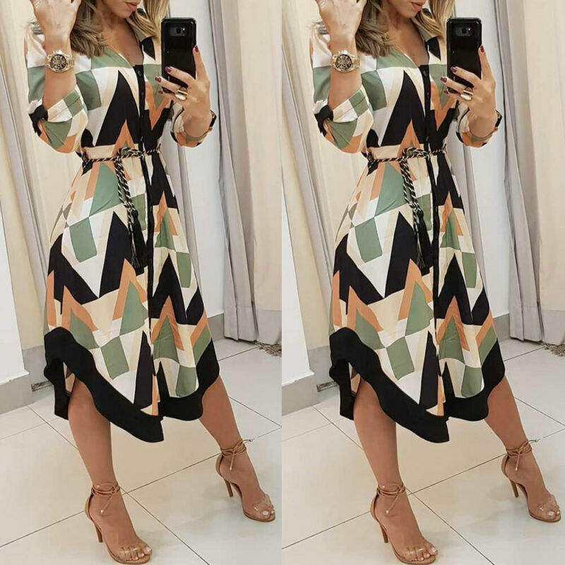 Autumn Korean Office Midi Woman Geometric Print Midi Dress Empire Vintage Dresses with Long Sleeve Belt Casual Party Dress