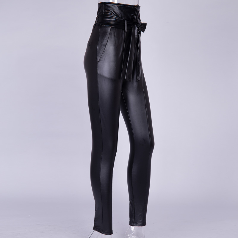 InstaHot Gold Black Belt High Waist Pencil Pant Women Faux Leather PU Sashes Long Trousers Casual Sexy Exclusive Design Fashion 25