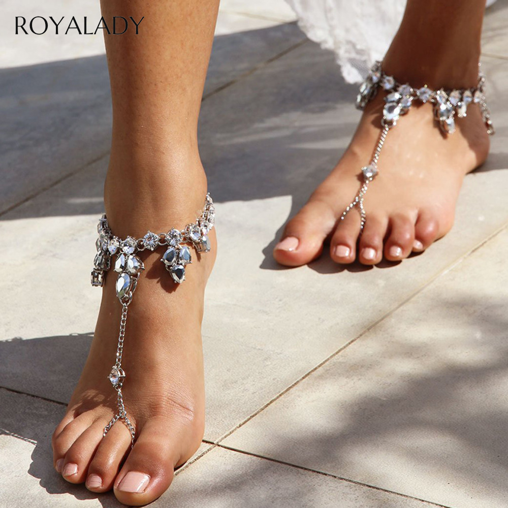 Boho Crystal Anklet Sandals Beach Vacation Ankle Bracelet 2020 Hot Sandals Sexy Leg Chain Female Foot Jewelry Barefoot Accessory