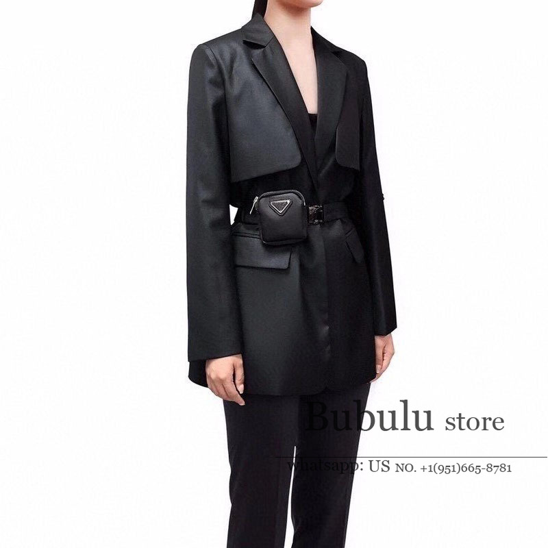 luxury designer high end fall 2020 women blazers clothes branded Long-Sleeved Satchel Casual suit linning blazer coat with belt