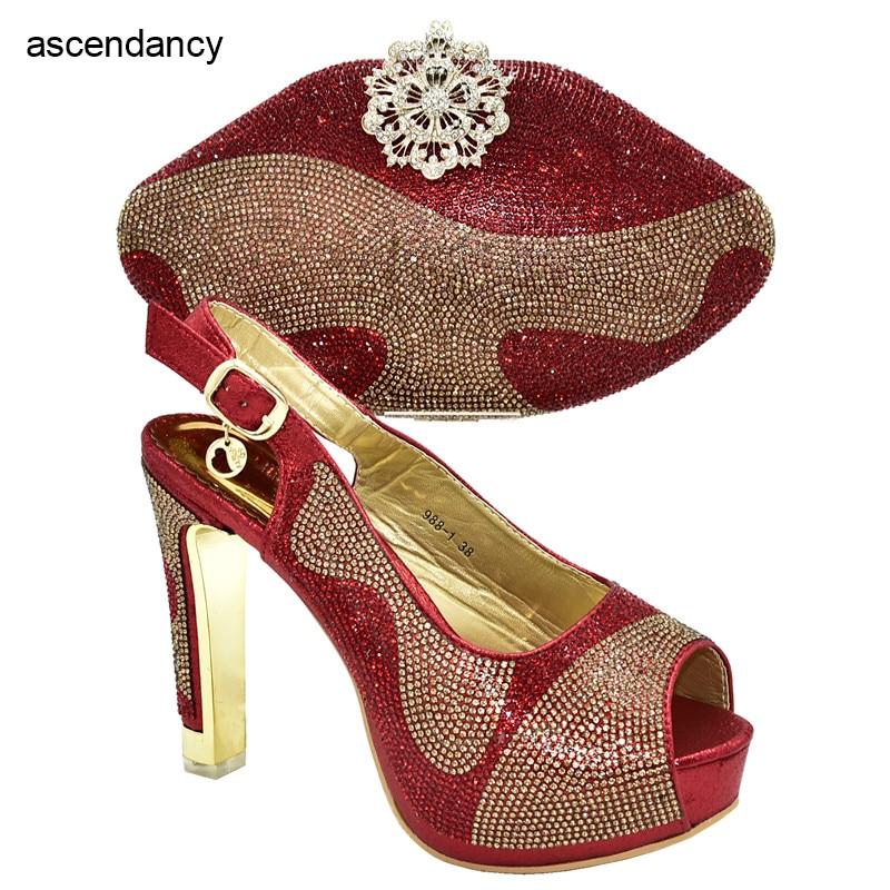 Nouveauté chaussures africaines et sacs assortis ensemble décoré avec strass bloc talon chaussures nigérianes femmes pompes de fête de mariage