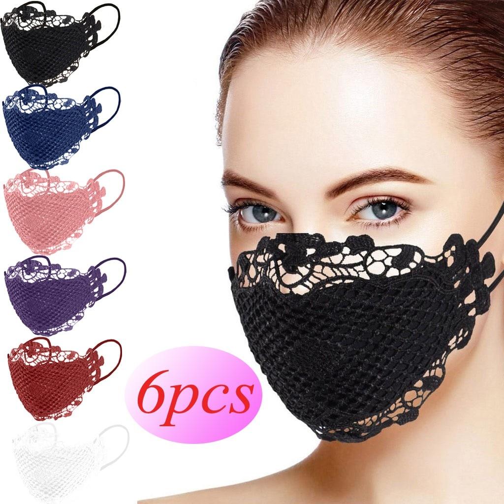 6 шт полых кружева черная маска дышащий защитный Удобная Тканевая маска для лица с защитой от ветра пылезащитный туманный дымка велосипедна...