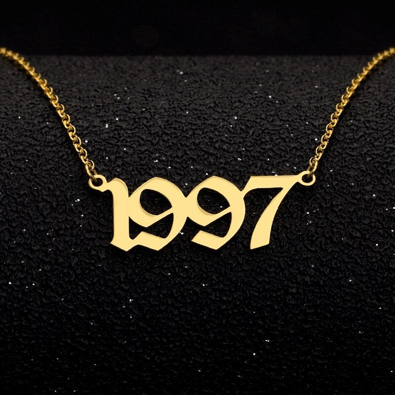 Изготовленные на заказ ожерелья с цифрами года для женщин Персонализированные год 1994 1995 1996 1997 1998 1999 2000 2019 подарок на день рождения от 1980 до ...