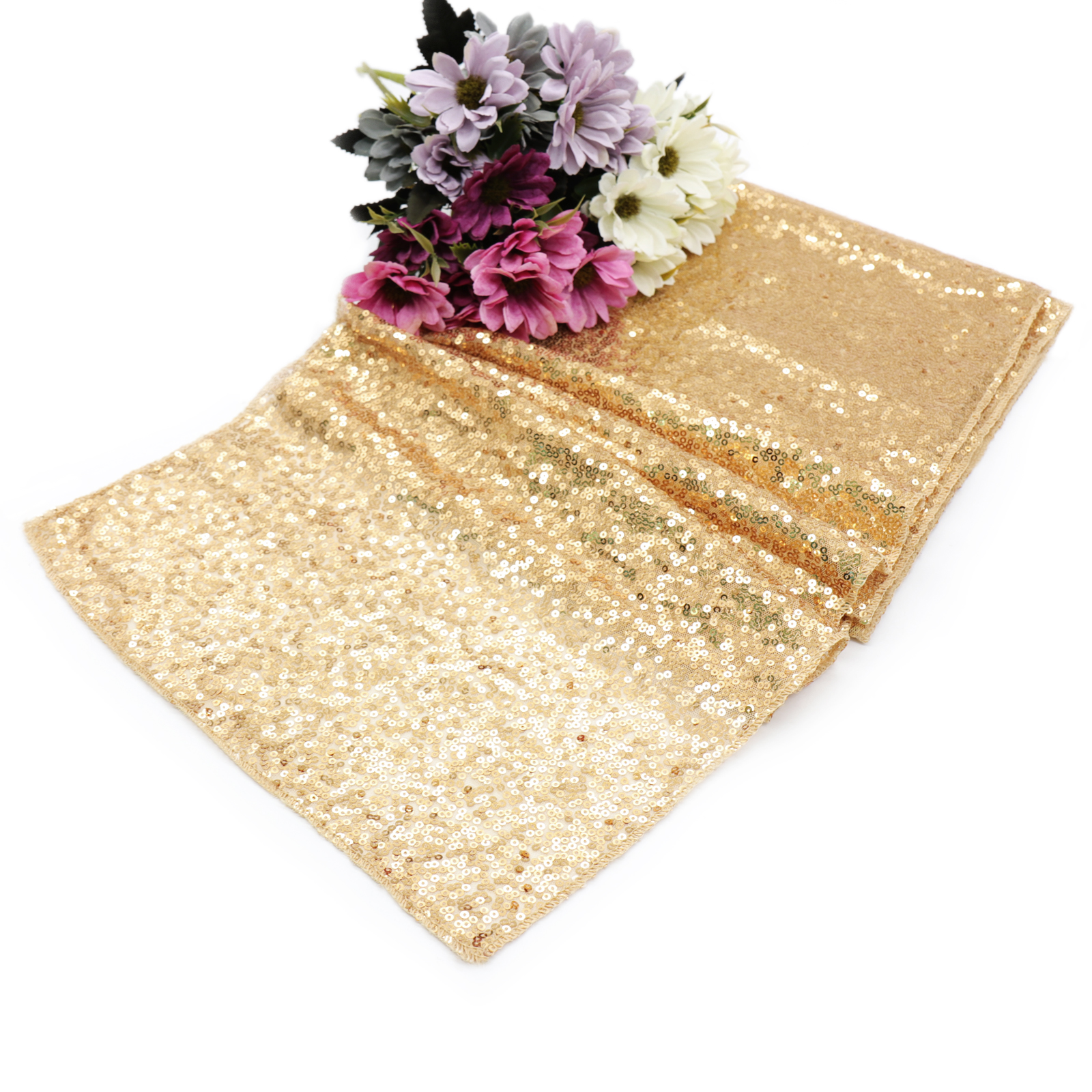 1pcs Rose Gold Champagne Sequin Table Runner Sparkly Wedding Banquet Party Table Runners Home Tablecloth Decoration